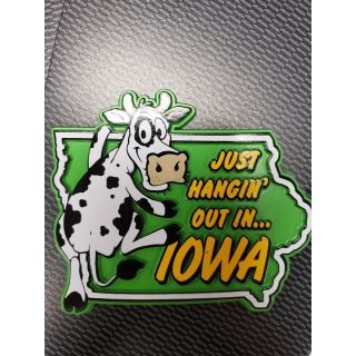 Just Hangin' Out Iowa Magnet (Cow)