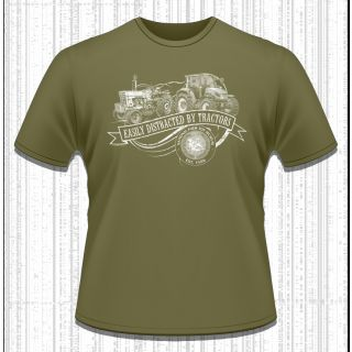 Easily Distracted By Tractors - NFTM adult t-shirt
